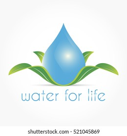 gradient blue drop water shape upon green leafes with lighting and shadow effect as a water for life logo vector