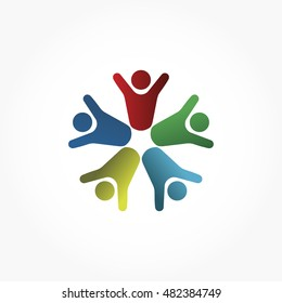 gradient blue red green yellow people raising hand while forming a circle