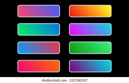 Gradient button set. Colorful call to action buttons for web interface design. Vector illustration.