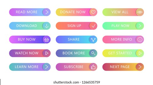 Gradient buttons flat design. Web and ui application color button icon for modern website. Buttons set with different actions. Vector icons isolated on white background