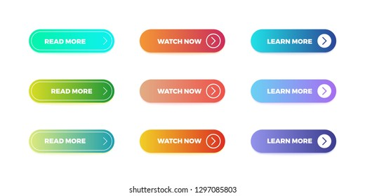 Gradient buttons. Web interface material button shape, bright gradient mobile app submit. Vector action ui buttons.