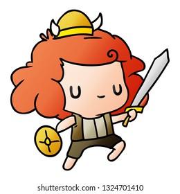 gradient cartoon illustration kawaii cute viking child