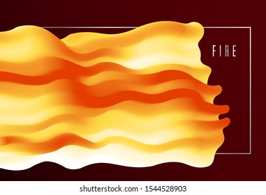 Gradient color 3D flame fluid shape vector abstract background, dynamic dimensional design element in motion, trendy modern style.