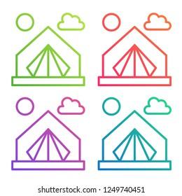 Gradient color line icon tent. Camping vector logo.