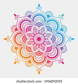 Gradient color mandala pattern on white isolated background. Vector background for yoga, meditation poster, banner, wallpaper and your desired ideas.