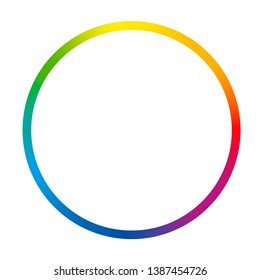 Gradient color ring. Rainbow colored thin circle. Isolated vector illustration on white background.