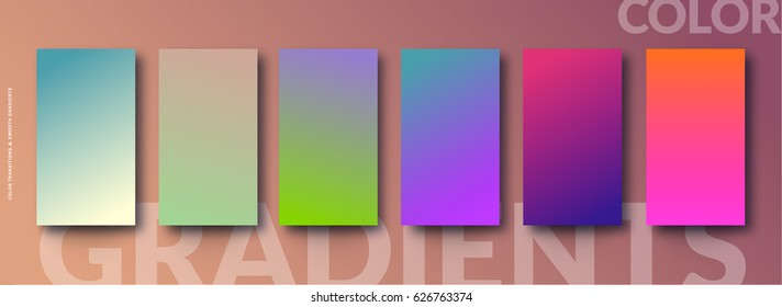 Gradient color soft and smooth background set, Vector illustration. For modern color transitions background, Creative ways with your brilliant background design ; flyer, poster, brochure, banner, ads
