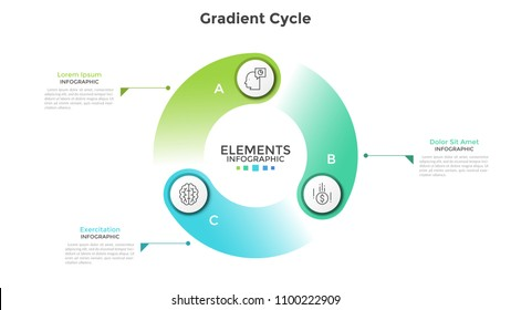 Gradient colored cyclical diagram with 3 round elements, thin line symbols, letters and text boxes. Concept of production cycle visualization. Modern infographic design template. Vector illustration.