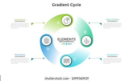 Gradient colored cyclical diagram with 4 round elements, thin line symbols, letters and text boxes. Concept of production cycle visualization. Modern infographic design template. Vector illustration.