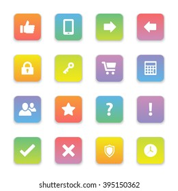 gradient colored flat computer and miscellaneous icon set on rounded rectangle for web design, user interface (UI), infographic and mobile application (apps)