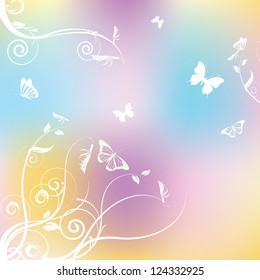 Gradient colorful background with butterflies