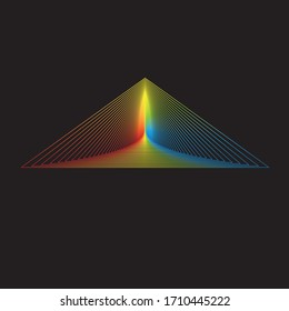 Gradient colorful triangle shape on black background
