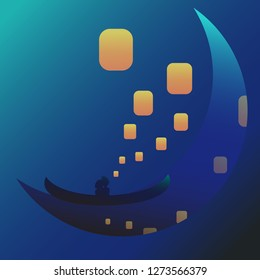 Gradient couple with lanterns in a boat on the moon vector illustration