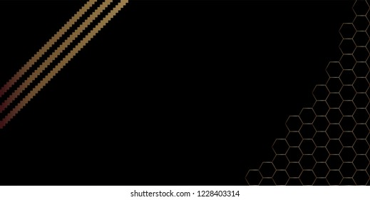 Gradient effect background. Design jigsaw stripes with hexagonal shape gold on black background. Design print for brochure, package, banner, background. Set 1