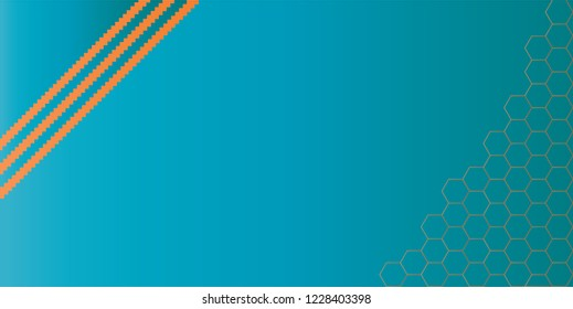 Gradient effect background. Design jigsaw stripes with hexagonal shape gradient yellow on blue background. Design print for brochure, package, banner, background. Set 3