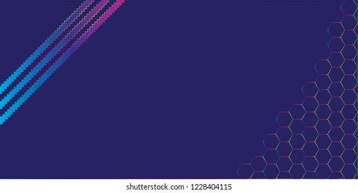 Gradient effect background. Design jigsaw stripes with hexagonal shape spectrum colors on dark blue background. Design print for brochure, package, banner, background. Set 4