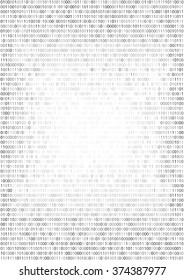 Gradient fall off binary code screen listing table cypher, white, vector background