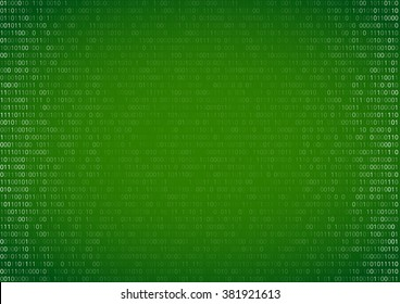 Gradient fall off binary code screen listing table cypher, green, vector background