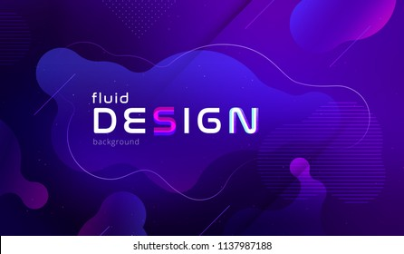 Gradient fluid background design. Vector pattern with blue violet shape in motion