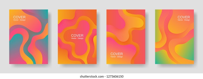 Gradient fluid shapes abstract covers vector set. Trendy brochure backgrounds design. Flux paper cut effect blob elements pattern, fluid wavy shapes texture print. Cover layouts.