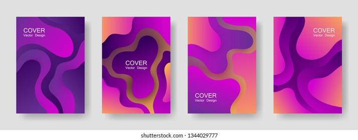 Gradient fluid shapes abstract covers vector set. Minimal magazine backgrounds design. Organic bubble fluid splash shapes, oil drop molecular mixture concept pattern. Cover layouts.