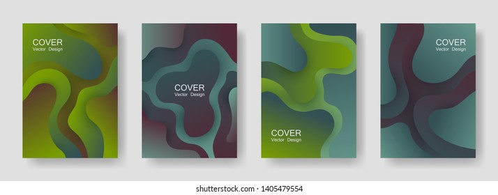 Gradient fluid shapes abstract covers vector collection. Glitch banner backgrounds design. Flux paper cut effect blob elements pattern, fluid wavy shapes texture print. Cover templates.