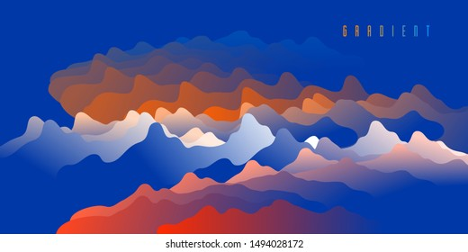 Gradient fluid vector abstract shape, 3D color abstract background in modern trendy style, dynamic design element in motion.
