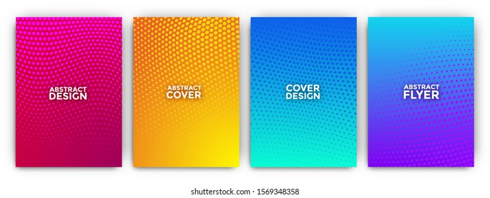 Gradient flyer background set with minimal halftone effects