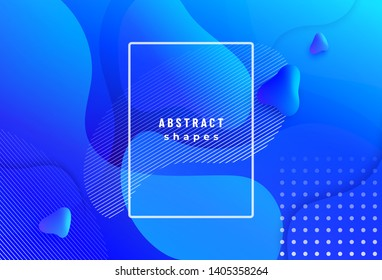 Gradient geometric background with fluid liquid shapes in motion dynamic style. Vector pattern design for poster, banner, report illustration.
