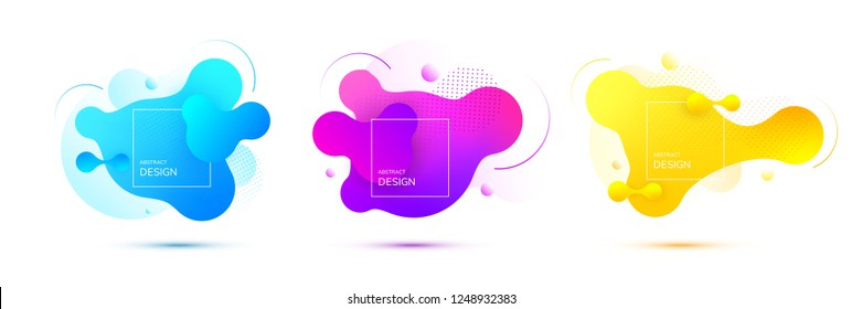 Gradient geometric banners with flowing liquid shapes. Dynamic Fluid design for logo, flyers or presentstion. Abstract vector background.