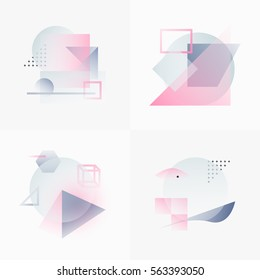 Gradient Geometry Forms. Abstract Poster Design. Geometric Vector Objects. Platonic Shapes And Figures. Unique Set Of Minimalist Artwork. Modern Decoration For Web, Print, Branding, Patterns, Textures