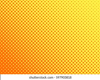 Gradient halftone dots background. Pop art template, texture. Yellow and orange. Vector illustration