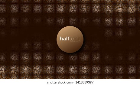 Gradient halftone pattern diagonal vector illustration. Gold dots, brown halftone texture. Pop Art gold brown halftone, comics Background. Background of Art.