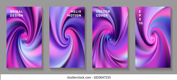 Gradient helix torsion spin cover page templates vector set. Fuzzy brochure front pages collection. Flyer backgrounds with fluid colors dynamic helix patterns. Torsion screw tech booklet covers.