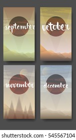 Gradient hills landscape. April hand drawn lettering on the abstract nature background, vector illustration.