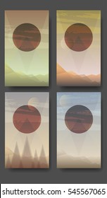Gradient hills landscape collection. Abstract background,has a circle on the center with a copy space for the text, vector illustration. Can be used as smartphone wallpaper.