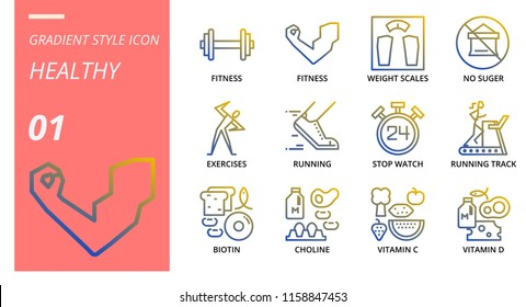 Gradient icon pack for healthy, fitness, weight, scales, no, sugar, exercises, running, stop, watch, running track, biotin, choline, vitamin c, vitamin d.