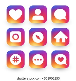 Gradient icon template set inspried by instagram new logo. Vector illustration for your app design project.