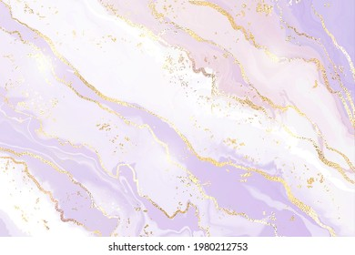 Gradient lavender liquid marble or watercolor background with glitter foil textured stripes. Violet marbled alcohol ink drawing effect. Vector illustration design template for wedding invitation.