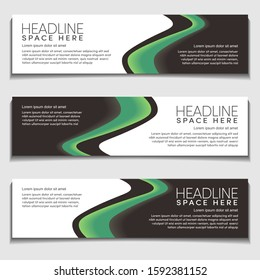Gradient Light Green Wavy, Wave, Liquid, Fluid Modern Abstract Web Banner for Header, Advertising, Publication.Blank Space Design Vector Template, Mockup.