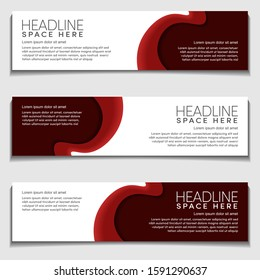 Gradient Light Red Wavy, Wave, Liquid, Fluid Modern Abstract Web Banner for Header, Advertising, Publication. Design Vector Template, Mockup.