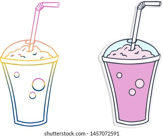 Gradient line drawing and sticker of cartoon milkshake. Isolated vector illustration, icon on white background