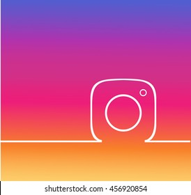 Gradient Line Photo Camera  background .instagra Vector Logo, JPG, JPEG, EPS. Icon Button.instagram Flat Social Media Sign