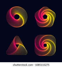 Gradient line spiral designs elements, vector illustration