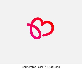 Gradient linear logo letter B and heart for web site
