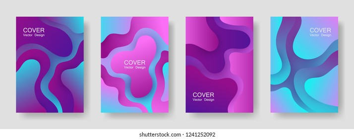 Gradient liquid shapes abstract covers vector collection. Colorful magazine backgrounds design. Organic bubble fluid splash shapes, oil drop molecular mixture concept backdrop. Cover pages.