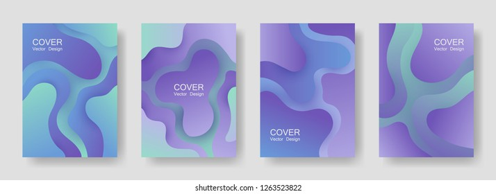 Gradient liquid shapes abstract covers vector collection. Minimal magazine backgrounds design. Flux paper cut effect blob elements pattern, fluid wavy shapes texture print. Cover templates.