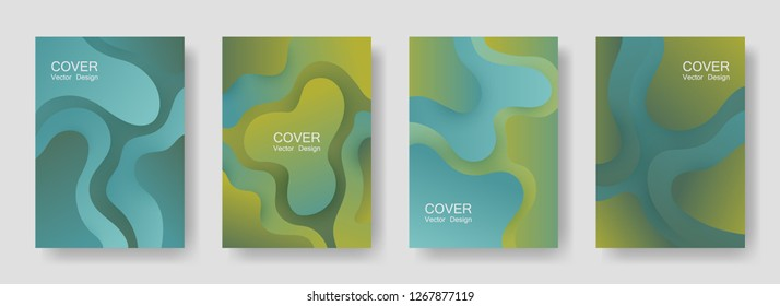 Gradient liquid shapes abstract covers vector collection. Hipster magazine backgrounds design. Flux paper cut effect blob elements backdrop, fluid wavy shapes texture print. Cover pages.