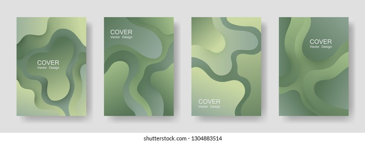 Gradient liquid shapes abstract covers vector collection. Colorful banner backgrounds design. Flux paper cut effect blob elements pattern, fluid wavy shapes texture print. Cover templates.