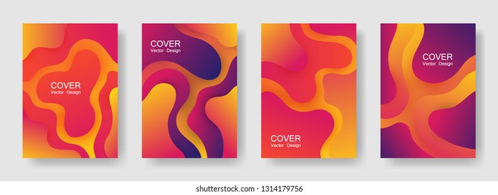 Gradient liquid shapes abstract covers vector set. Futuristic brochure backgrounds design. Flux paper cut effect blob elements pattern, fluid wavy shapes texture print. Cover layouts.
